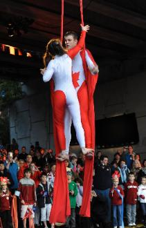 Aerial Silks Duet Circus Performers for Canada Day
